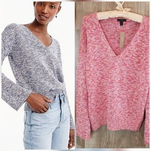 NWT J. Crew Flared Sleeve Marled Swing Sweater